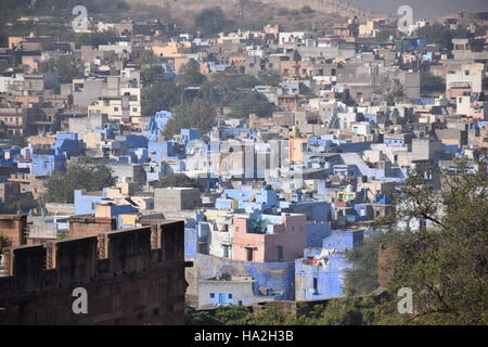 Aerial view of the blue city Jodhpur with blue painted houses from Mehrangarh fort - Jodhpur, Rajasthan, India - Stock Photo