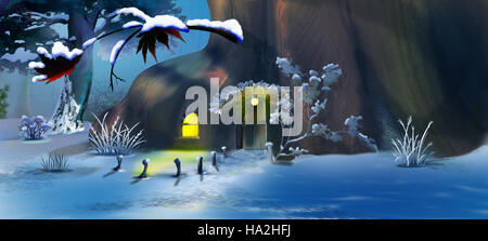 Forest Gnome's House in the New Year's Eve.  Panorama View. Handmade illustration in a classic cartoon style. - Stock Photo