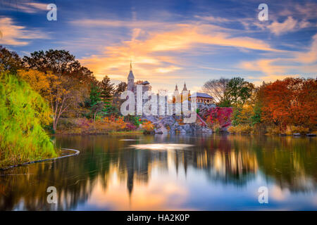 Central Park, New York City at Belvedere Castle during an autumn sunset. - Stock Photo