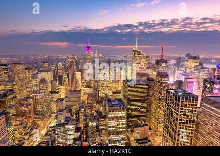 New York City aerial skyline view over midtown Manhattan. - Stock Photo