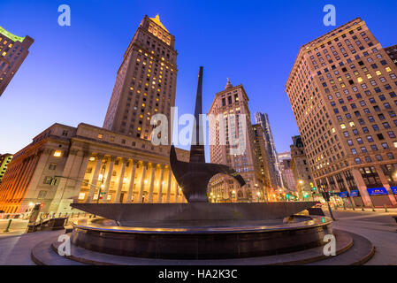 NEW YORK CITY - NOVEMBER 11, 2016: The Triumph of the Human Spirit sculpture at Foley Square in the Civic Center - Stock Photo