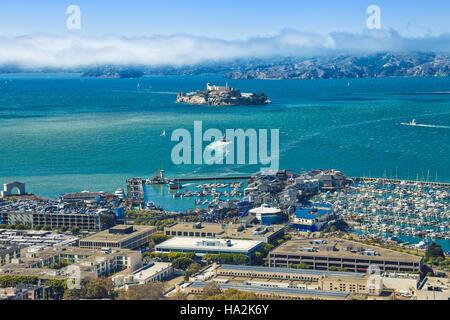 Alcatraz aerial view - Stock Photo