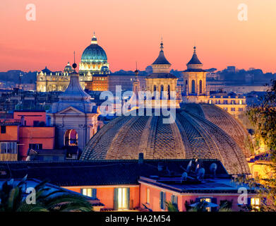 Overview of Rome with St Peter's in the background, Rome, Italy - Stock Photo