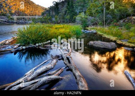 Sunset at Cataract Gorge, Launceston, Tasmania, Australia - Stock Photo