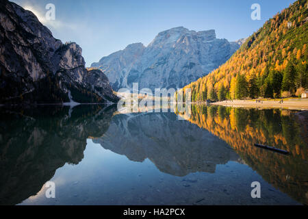 Lake Braies in Dolomite mountains, South Tyrol, italy - Stock Photo