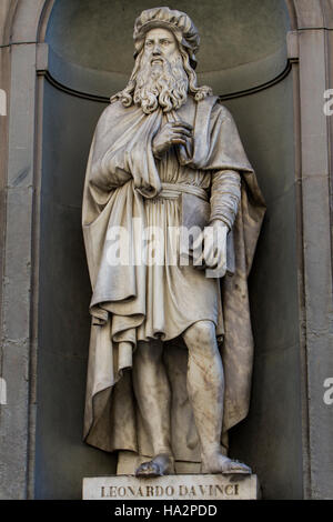 View at Leonardo da Vinci statue in Florence, Italy - Stock Photo