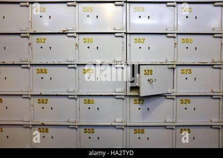 Numbered safe deposit boxes - Stock Photo