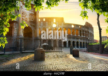 Road to Colosseum in calm sunny morning - Stock Photo