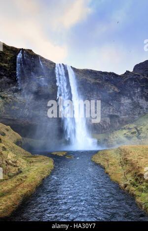 Seljalandsfoss waterfall - Stock Photo