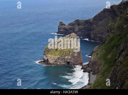 Portugal, Madeira, Santana, Elevated view towards the Rocha do Navio Reserve and Ponta de Catarina Pires. - Stock Photo