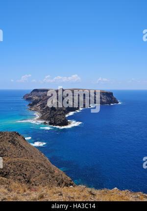 Portugal, Madeira Islands, Porto Santo, Ponta da Calheta View towards the Cal Islet. - Stock Photo