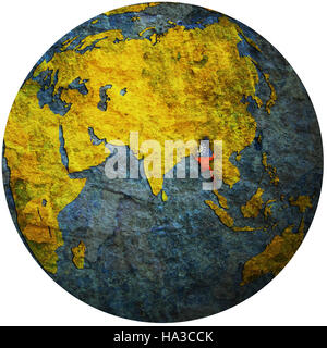 isolated over white territory of myanmar with flag on globe map - Stock Photo