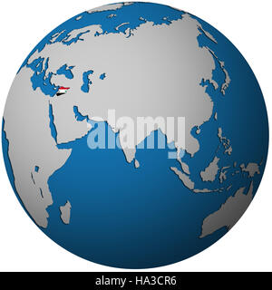 isolated over white territory of syria with flag on globe map - Stock Photo