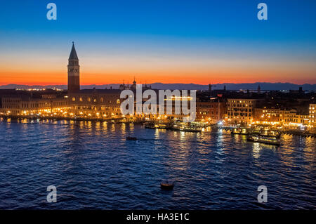 View from San Marco Basin, Bacino di San Marco, sunset, Piazza San Marco with Campanile and Doge's Palace, Palazzo - Stock Photo