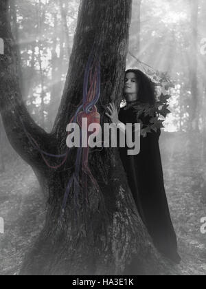 Woman druid in the forest listening to the heartbeat of a tree - Stock Photo