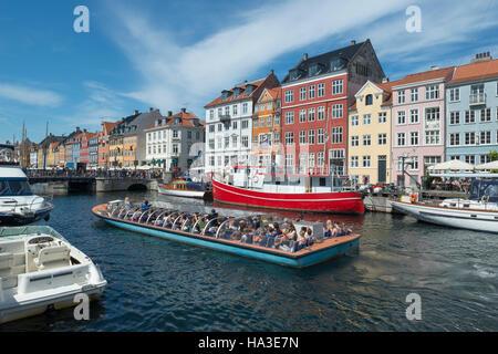Nyhavn Channel, excursion boat, Copenhagen, Capital Region of Denmark, Denmark - Stock Photo