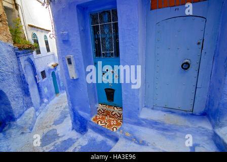 Narrow winding street in Chefchaouen, Chaouen, Medina, Morocco, North Afria - Stock Photo