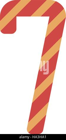 number seven design with diagonal colorful striped - Stock Photo