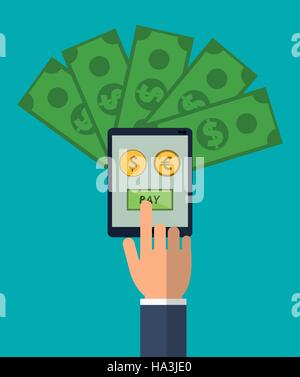 hand holds smartphone pay euro dollar money - Stock Photo