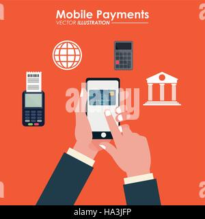hand touch cellphone credit card bank dataphone - Stock Photo