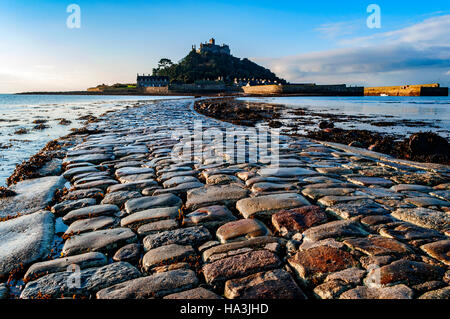 The causeway leading to St.Michaels mount near Penzance in Cornwall, England, UK - Stock Photo