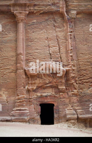 One of the many tombs in Petra, Jordan - Stock Photo