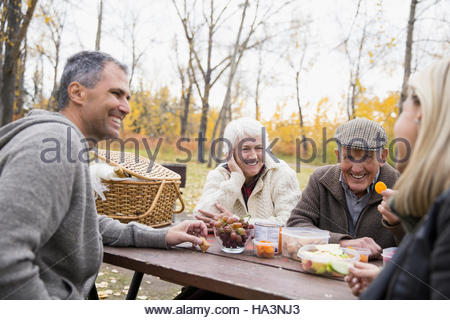 Senior and mature couples enjoying picnic at table in autumn park - Stock Photo
