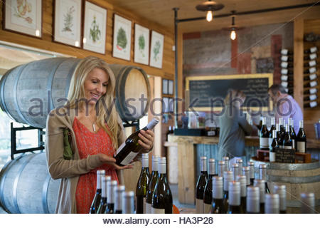 Woman shopping for wine in winery tasting room - Stock Photo