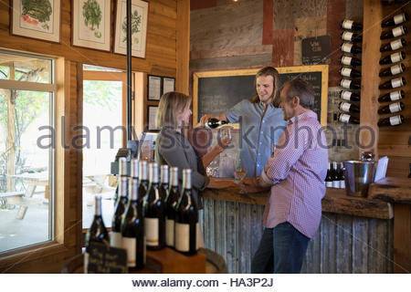Vintner pouring wine for senior couple wine tasting in winery tasting room - Stock Photo