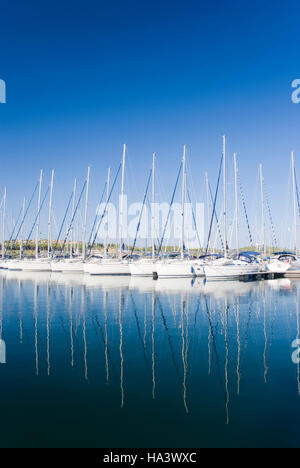 Sailing boats at the port, Sibenik, Dalmatia, Croatia, Europe - Stock Photo