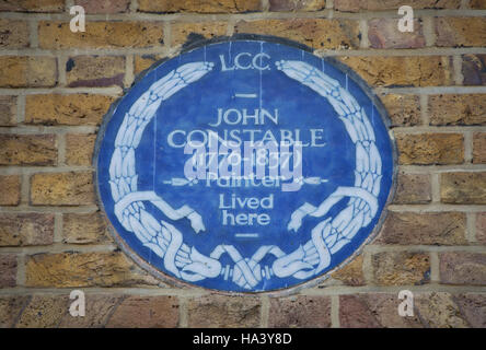 london county council blue plaque marking a home of painter john constable, hampstead, london, england - Stock Photo