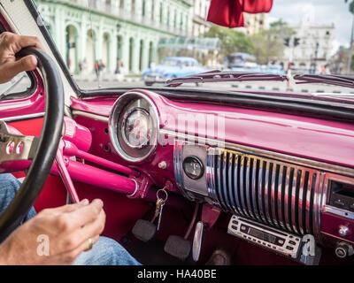 Oldtimer Taxi trip round trip Cuba Havana - Stock Photo
