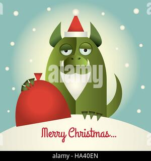 Vector illustration of a green monster with Santa beard and hat holding a red sack. Text:  Merry Christmas. Retro - Stock Photo