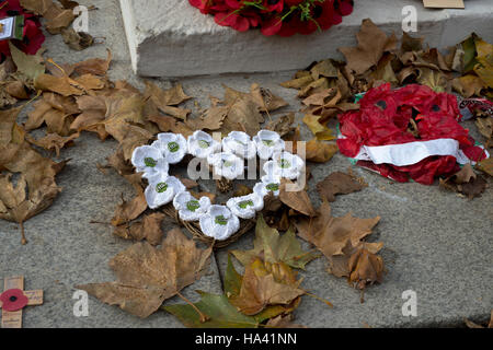 Remembrance Day at the Cenotaph. Wreath of knitted peace poppies with fallen leaves - Stock Photo