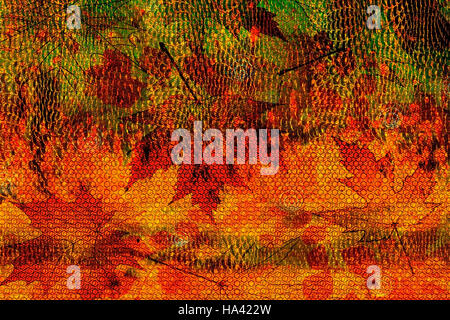 abstract autumn bright background elements of green, red-orange made of fallen autumn leaves - Stock Photo