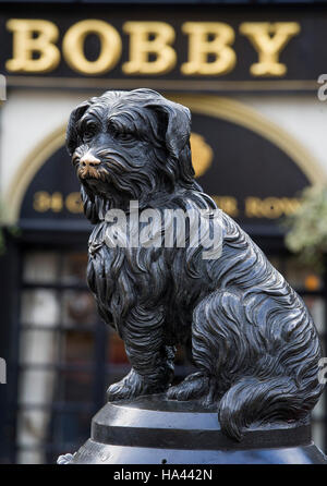 Greyfriars Bobby statue which sits outside Greyfrairs Kirk on, George iv Street Bridge  in Edinburgh. - Stock Photo