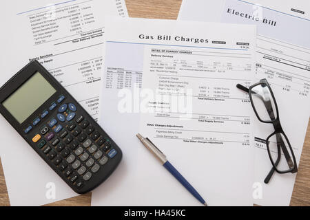 Gas bill charges paper form on the table - Stock Photo