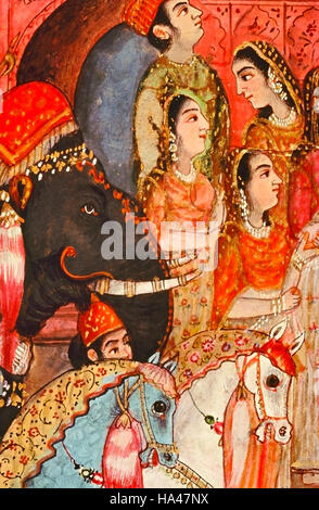 Women at a procession. Dated: 1800 A.D. India - Stock Photo
