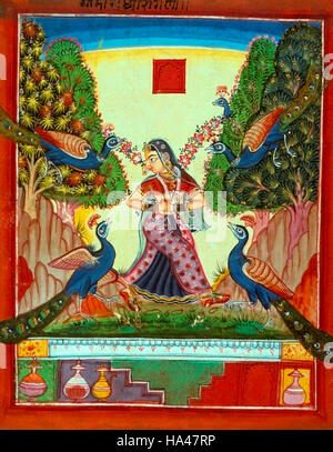 Ragamala Painting: Frightened and lonely woman walking in the forest among peacocks and dangling garlands from her - Stock Photo