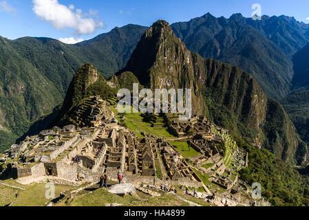 View of the Lost Incan City of Machu Picchu near Cusco, Peru. Machu Picchu is a Peruvian Historical Sanctuary. People - Stock Photo