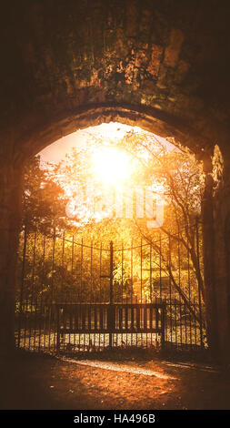 old metal gate leading to the mysteries park - Stock Photo
