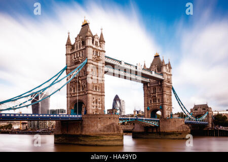 Tower Bridge and River Thames, London, England - Stock Photo