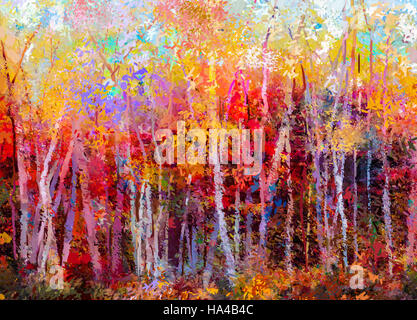 Oil painting landscape - colorful autumn trees. Semi abstract paintings image of forest, aspen tree with yellow - Stock Photo