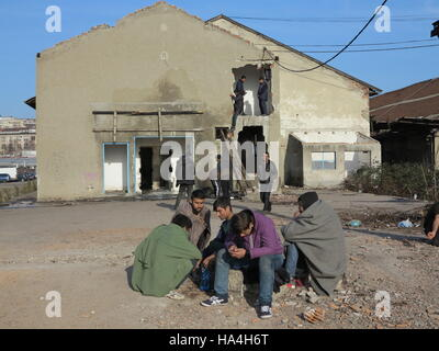 Belgrade, Serbia. 26th Nov, 2016. Refugees sitting in front of an abandoned warehouse in the center of Belgrade, - Stock Photo