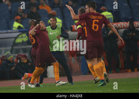 Olympic Stadium, Rome, Italy. 27th Nov, 2016. Serie A Football. Roma versus Pescara. Perotti score the gol . Credit: - Stock Photo