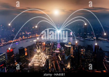 Network business connection system on Shanghai smart city scape in background.Network business connection concept - Stock Photo