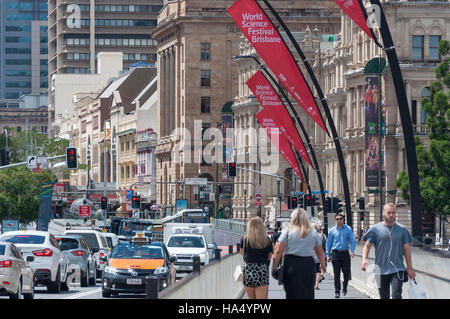 View of busy Queen Street from Victoria Bridge, Central Business District, Brisbane City, Brisbane, Queensland, - Stock Photo