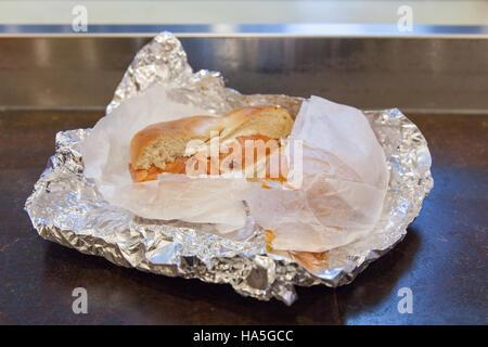 Smoked salmon and cream cheese bagel, Dali Market, Delicatessen, 7th Avenue , New York City, United states of America.