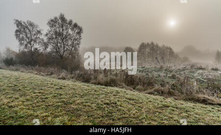 A view of Paddington Meadows in Warrington on a misty , frosty Saturday morning in November. - Stock Photo