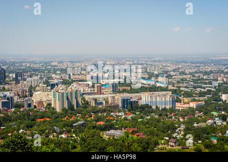 View over Almaty skyline, Kazakhstan - Stock Photo